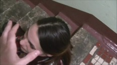 GIRL WITH DEEP THROAT IN HANDCUFFS ON THE LANDING
