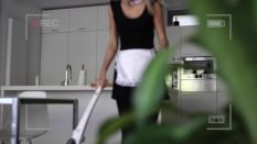I play a slutty housekeeper who fucks her client