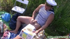 Amateur student babes group fucked outdoors